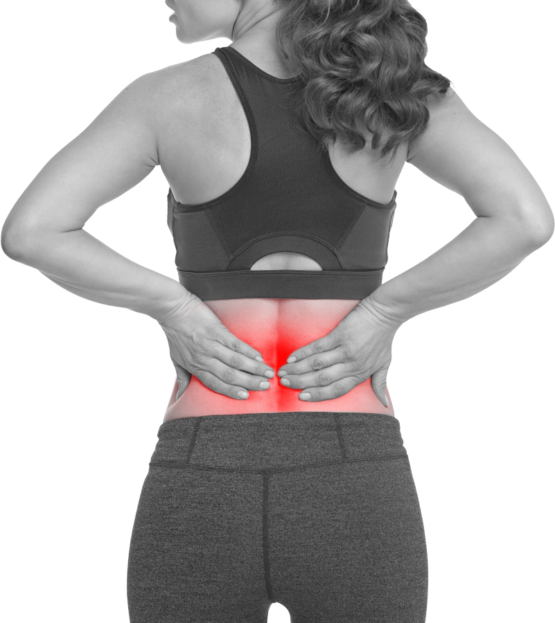 Image of an athletic woman with back pain